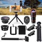 All in1 Phone Camera Lens 12X Telescope Selfie Stick Tripod bluetooth Remote Kit