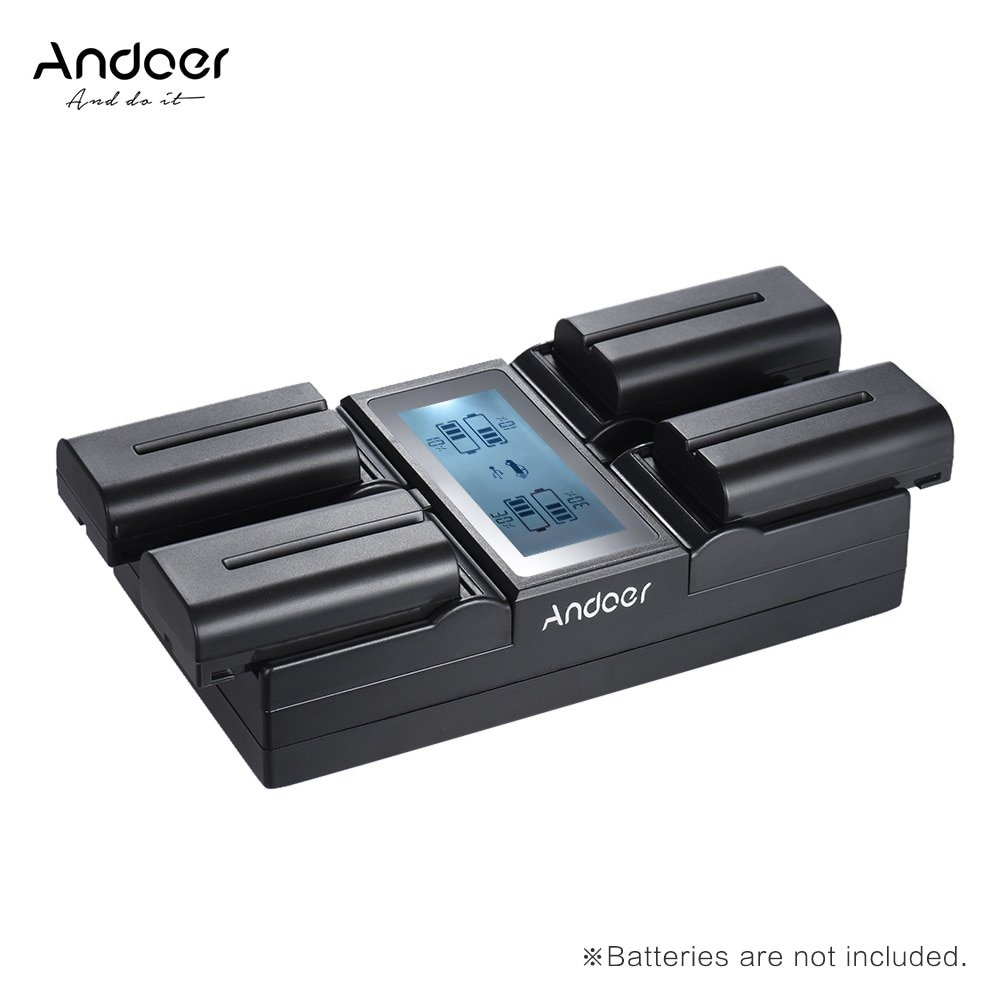 Andoer NP-F970 4-Channel Digital Camera Battery Charger w/ LCD Display  for Sony NP-F550 F750 F950 N