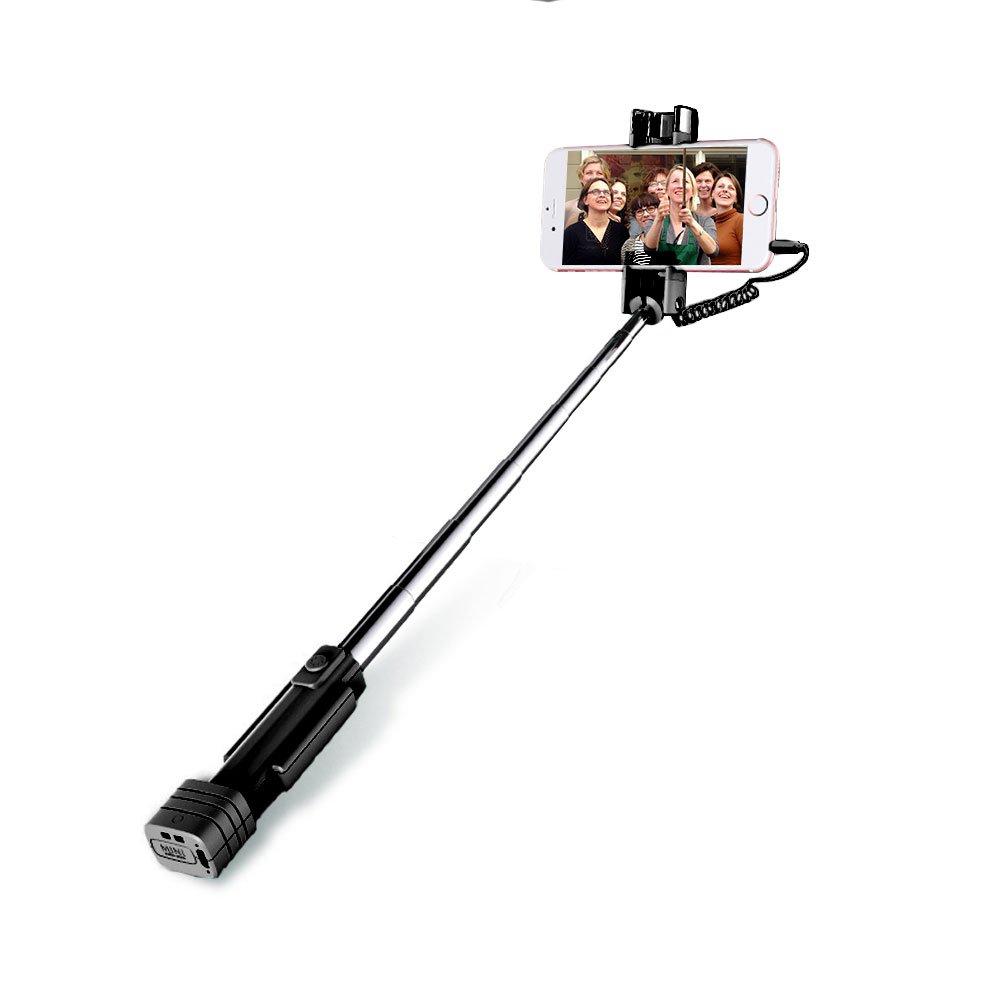 Atongm Wired Control Extendable Foldable Mini Selfie Stick Black