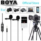 BOYA BY-M1DM 4m Dual-Head Lavalier Lapel Clip-on Microphone with 1/8  Stereo Connector for DSLR Came