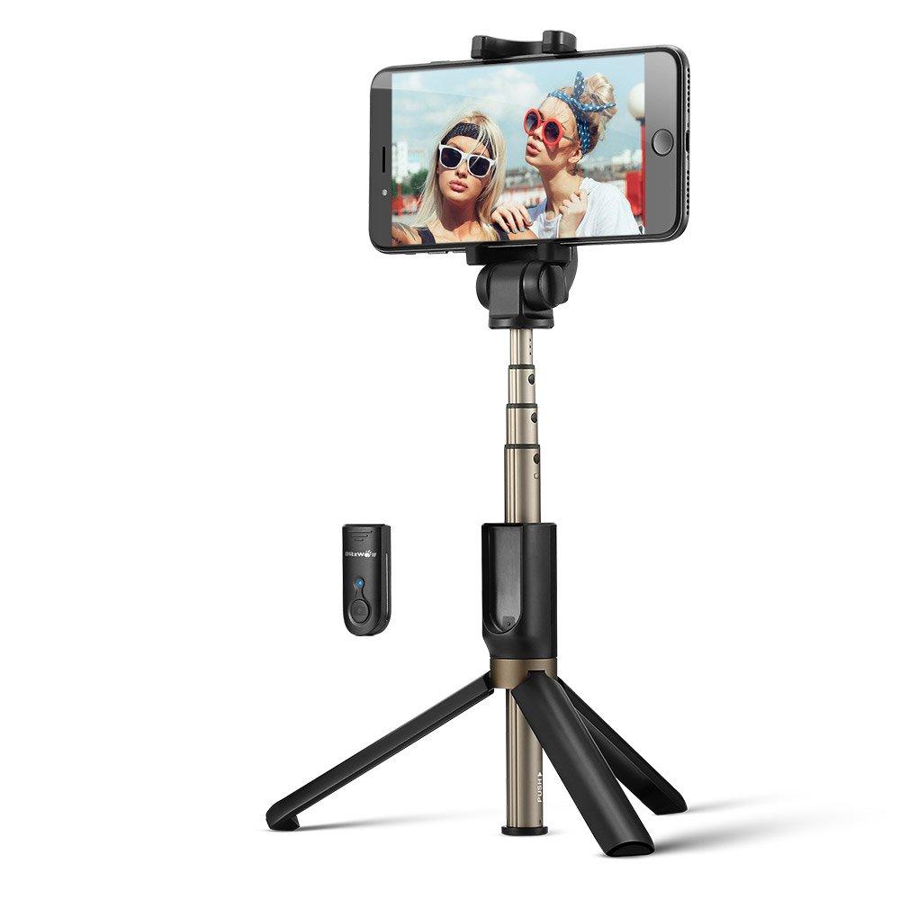 BlitzWolf BW-BS3 Versatile 3 in 1 bluetooth Tripod Selfie Sticks for iphone 8 8 Plus iphone X - Blac