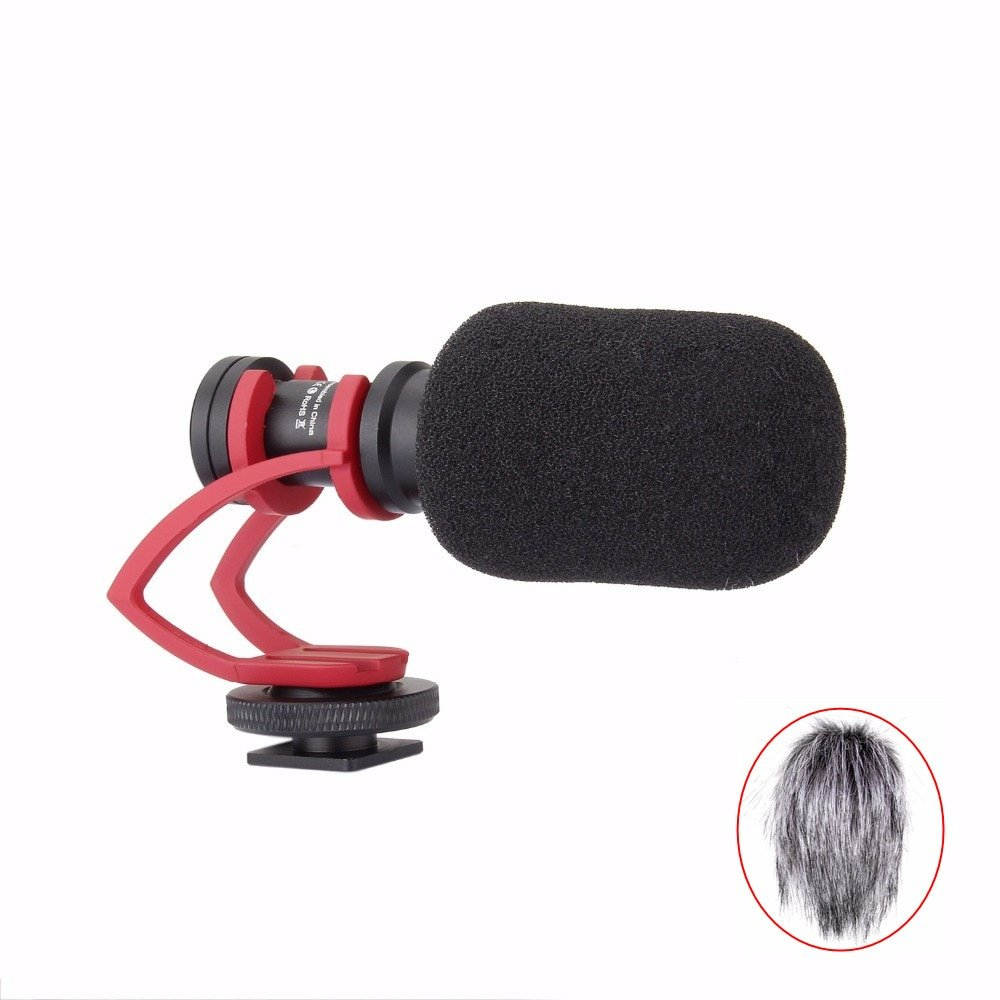 Comica CVM-VM10 II Cardioid Video Microphone for DJI OSMO GoPro Sony Camera Smartphone with Red Shoc