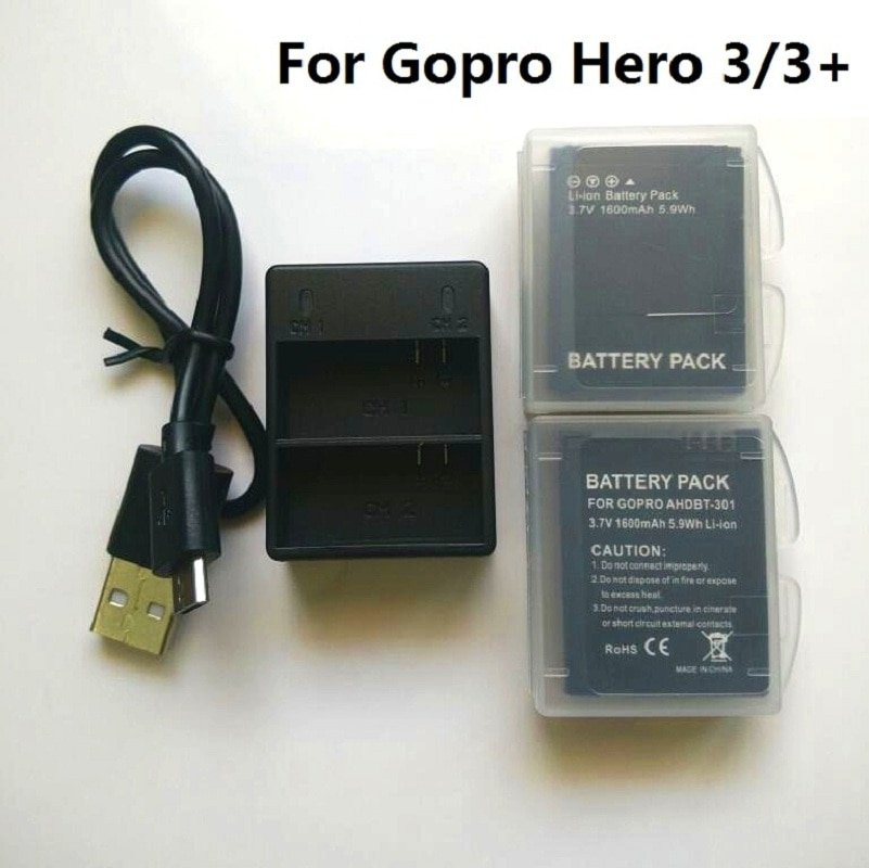 For Gopro Hero 3 Battery 3.7V AHDBT-301 Hero3 Battery USB Dual Charger Battery case For GOPRO 3+ 302