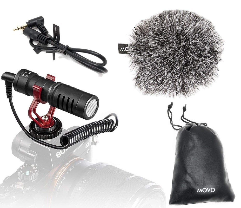 Movo VXR10 Universal Video Microphone with Shock Mount  Windscreen  for Smartphones Canon EOS/Nikon