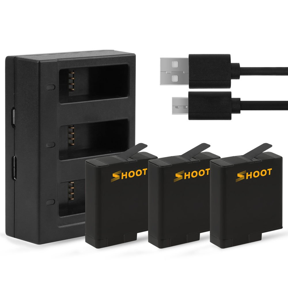 SHOOT AHDBT-501 Battery with Three/Dual Ports USB Charger for GoPro Hero 7 6 5 Black Camera for Go P