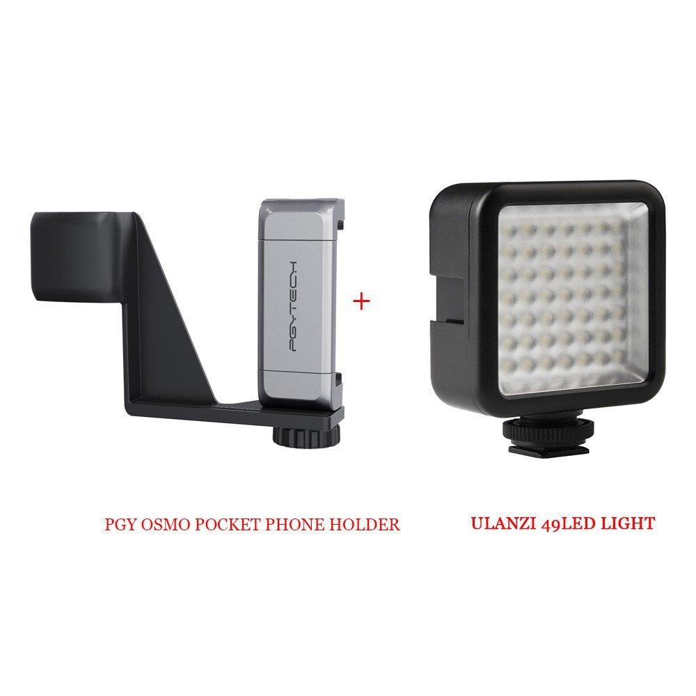 STOCK DJI Osmo Pocket Phone Holder Aluminium Mount L Bracket wi cold shoe Ulanzi LED Light DJI Osmo