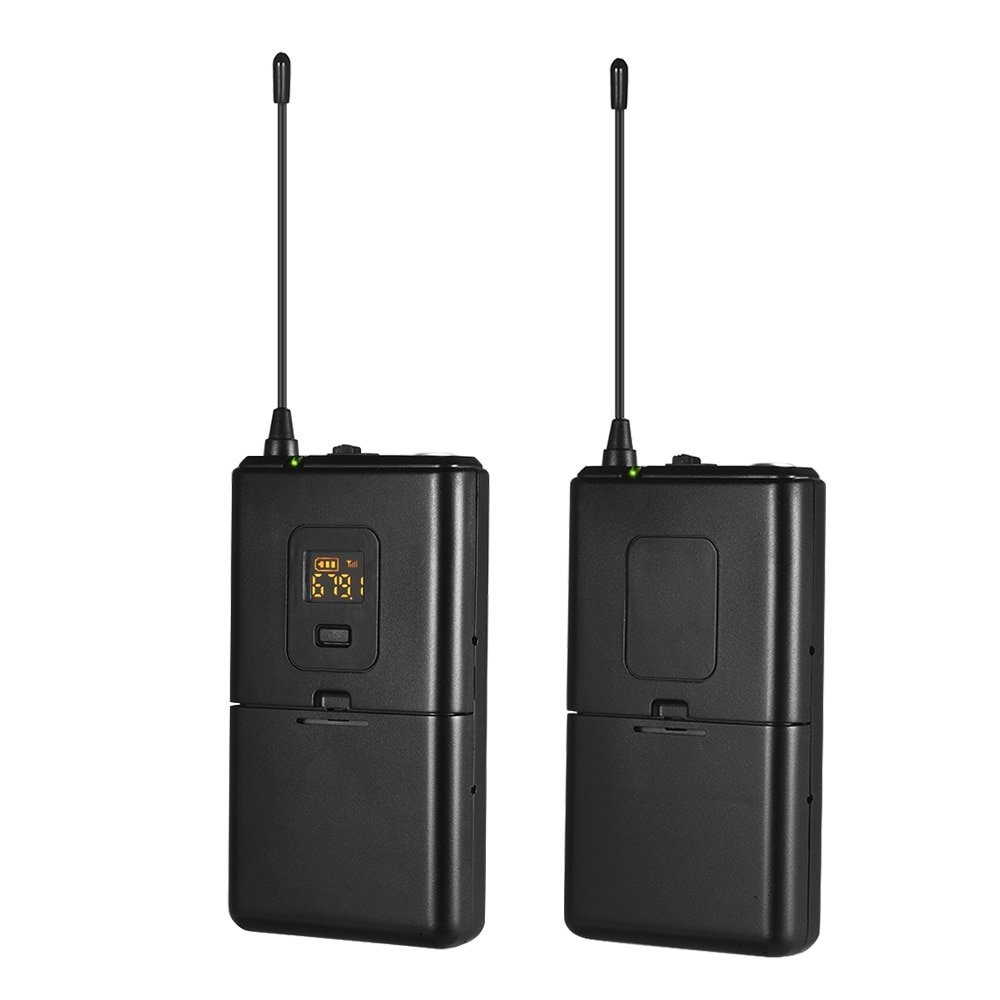 UHF Wireless Microphone System Transmitter+Receivers Set with Lavalier Lapel Mic with DSLR Camera Sm