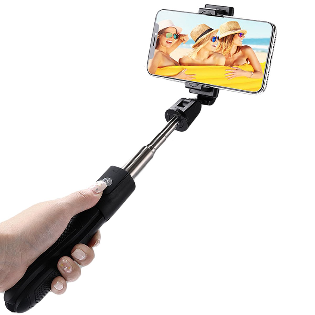 Universal bluetooth4.0 Remote Rotation Wireless Selfie Stick Tripod Portable for Mobile Phone Live B