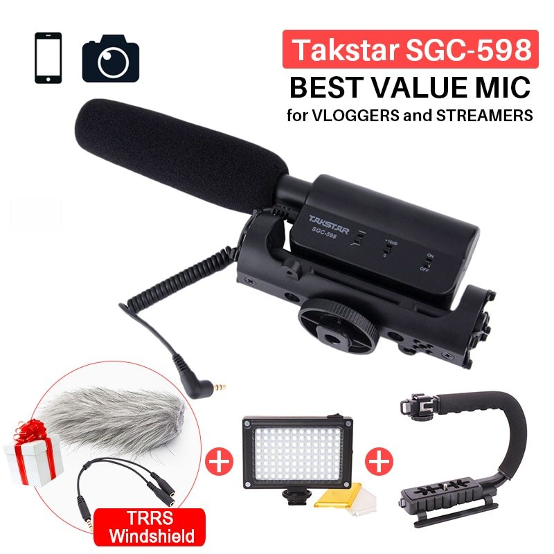 Takstar SGC-598 Photography Interview Shotgun MIC Microphone for Nikon Canon DSLR Camera DV Camcorde