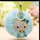 Kitty Doll Key Chain Fur Light Blue