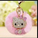Kitty Doll Key Chain Fur Light Pink
