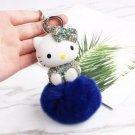 Kitty Doll Key Chain Rhinestone Blue