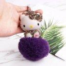 Kitty Doll Key Chain Rhinestone Purple