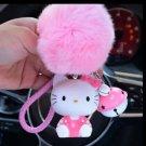 Kitty Doll Key Chain Pendant Fur Pom Pom Pink