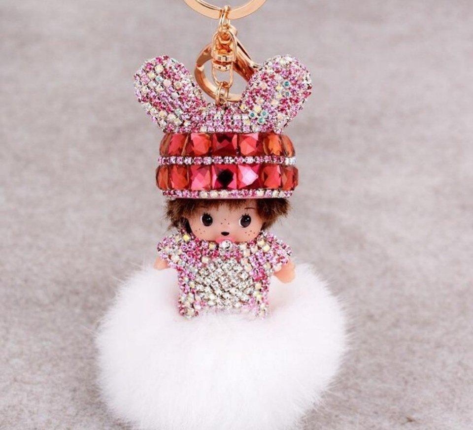 Cute crystal doll keychain hand made fur pom pom