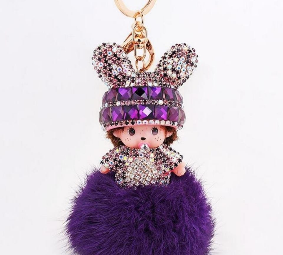 Cute crystal doll keychain hand made fur pom pom