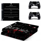 Death Note PS4 Skin Sticker Decals PS4 Console And Controllers Protect Your PS4