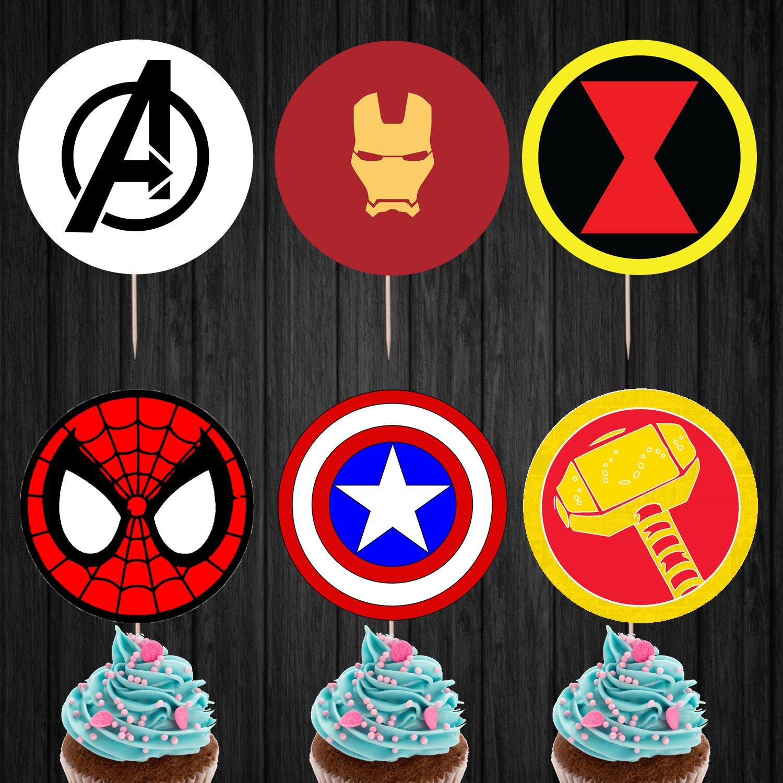 Avenger Logo Superhero Cupcake Toppers Printable Digital Instant Download