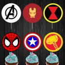 Avenger Logo Superhero Cupcake Toppers Printable Digital Instant Download