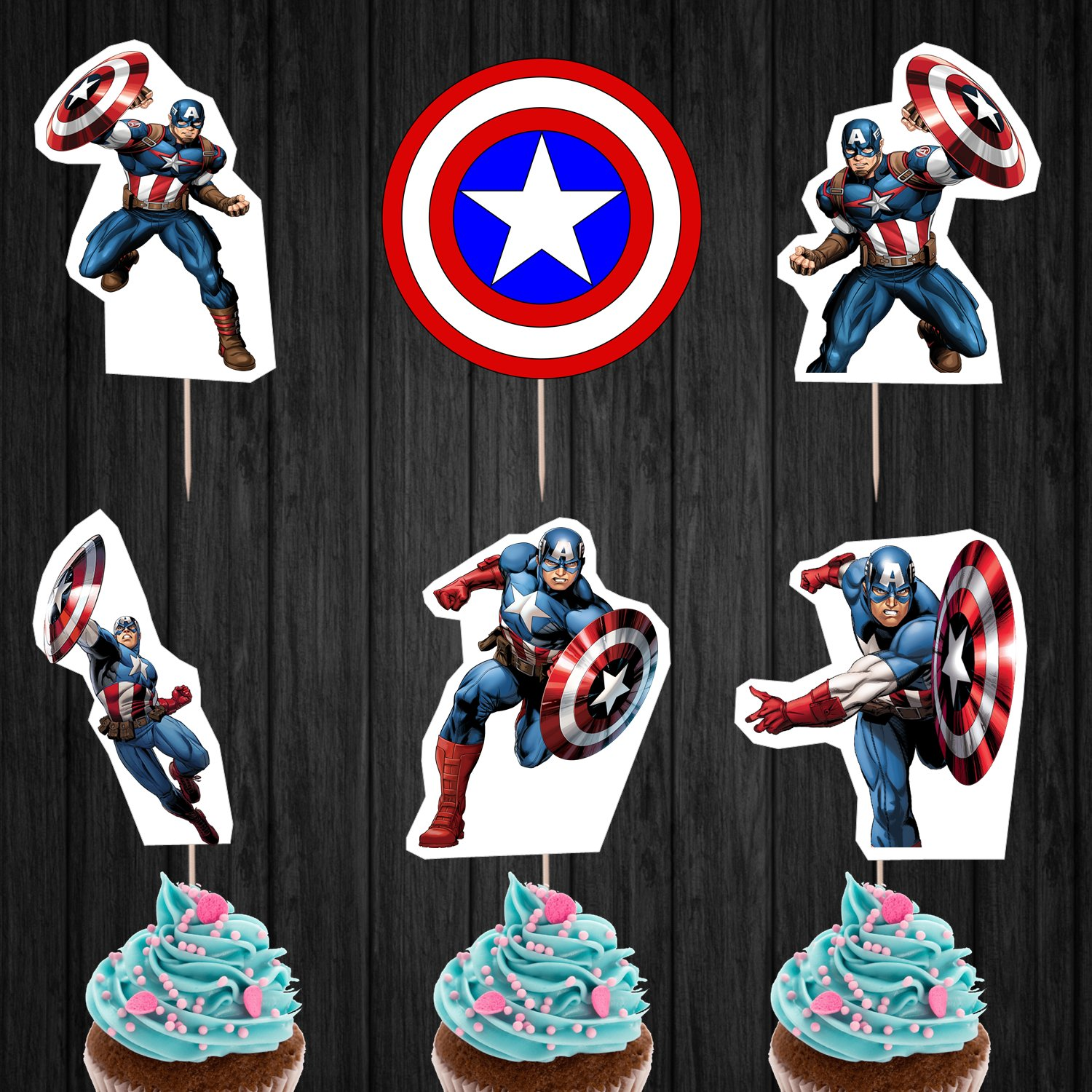 Captain America Avengers Superhero Assorted Cupcake Toppers Digital Printable Instant Download