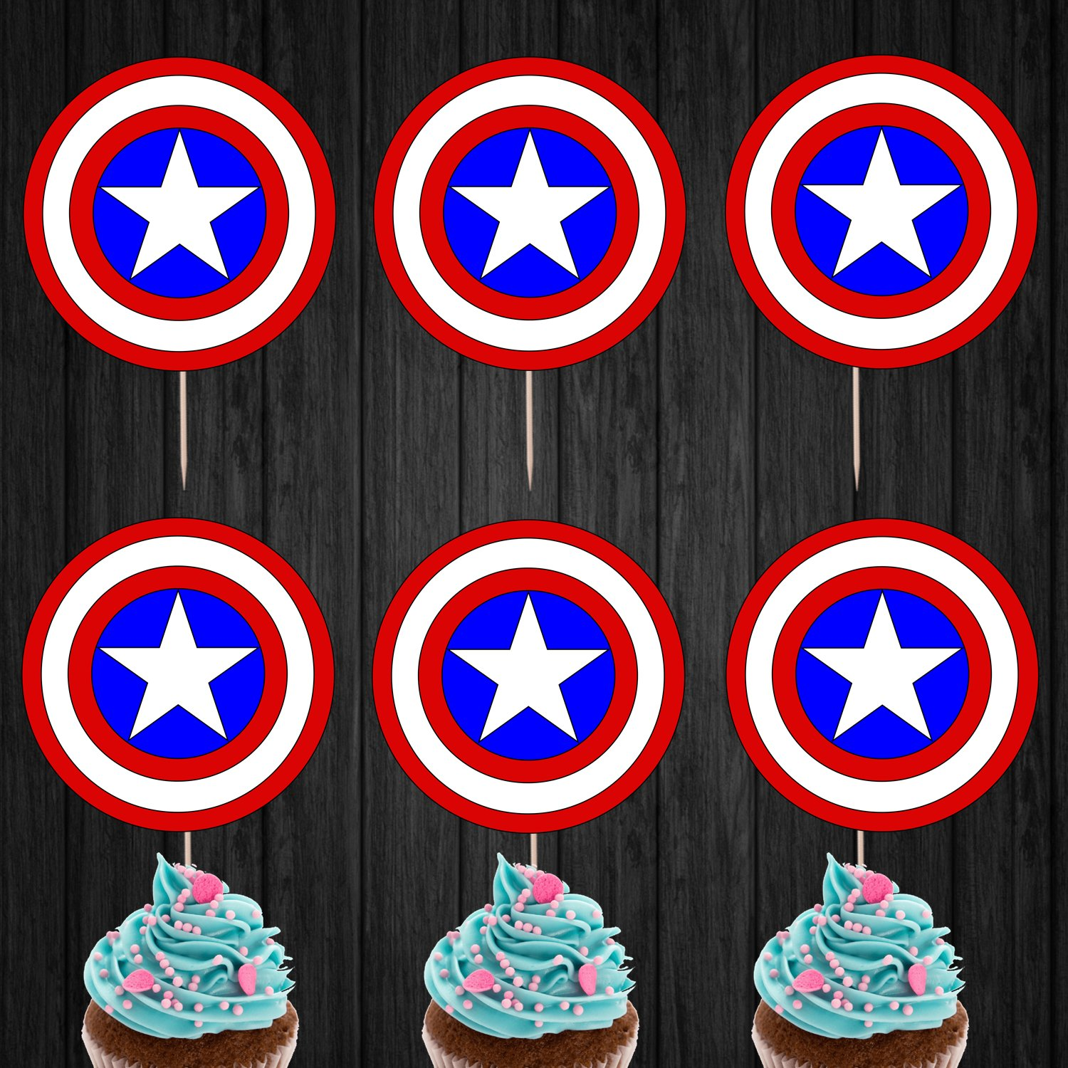 Captain America Shield Logo Cupcake Toppers Digital Printable Instant Download