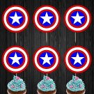 Captain America Shield Logo Cupcake Toppers Digital Printable Instant Download