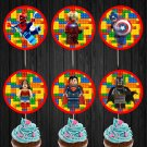 Lego Superheroes Cupcake Toppers Superhero Printable Digital Instant Download