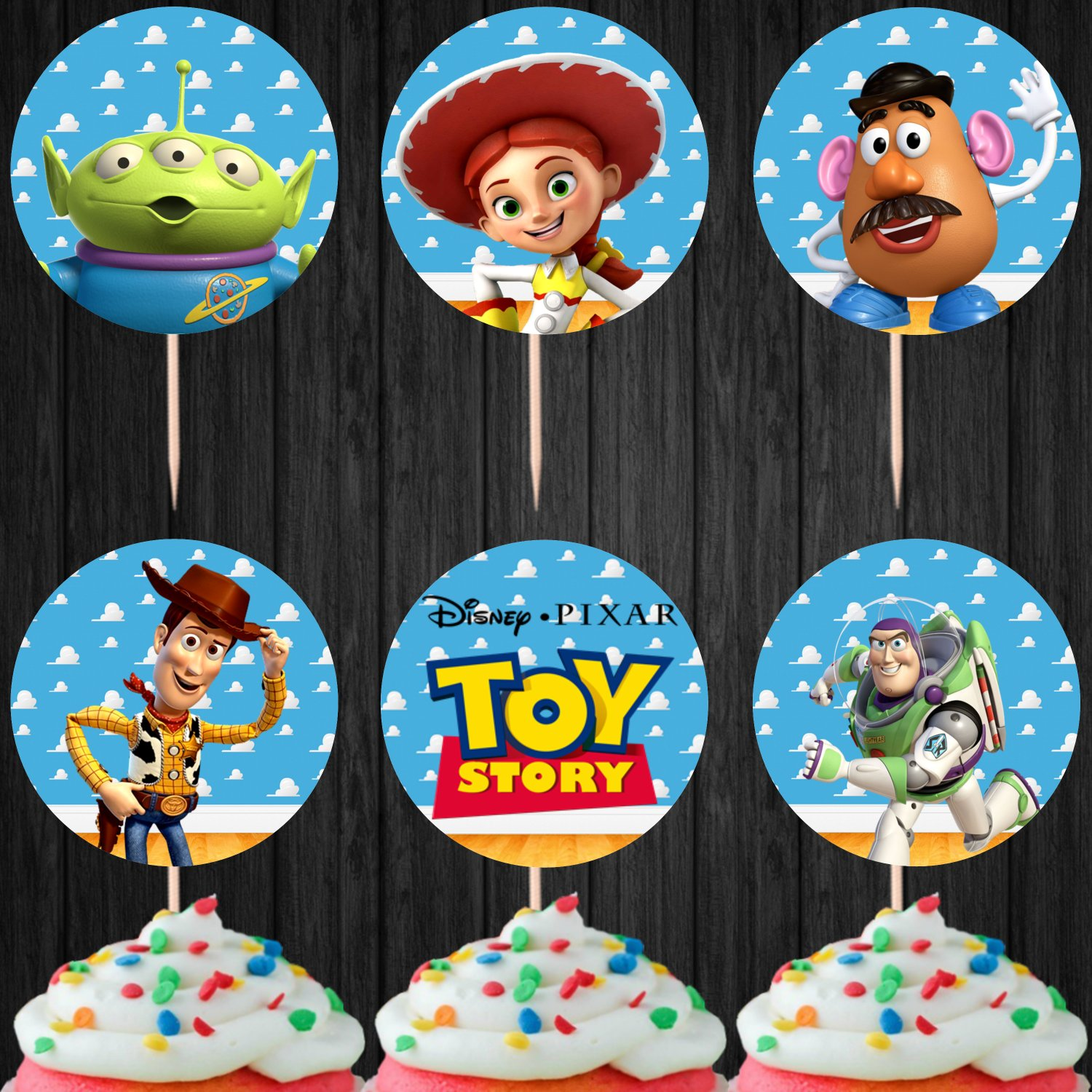 Toy Story Cupcake Toppers Digital Printable Instant Download