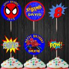 Personalized Spiderman Superhero Cupcake Toppers Printable Digital