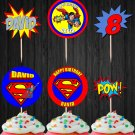 Personalized Superman Superhero Cupcake Toppers Digital Printable