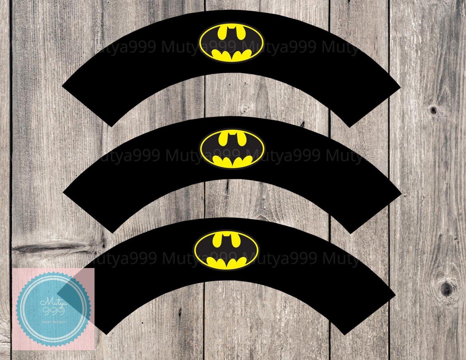 Batman Superhero Cupcake Wrappers Printable Digital Instant Download