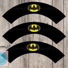 Batman Superhero Cupcake Wrappers Printable Digital Instant Download