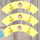Belle Disney Princess Cupcake Wrappers Printable Digital Instant Download