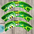 Ben 10 Ten Aliens Monsters Cupcake Wrappers Printable Digital Instant Download
