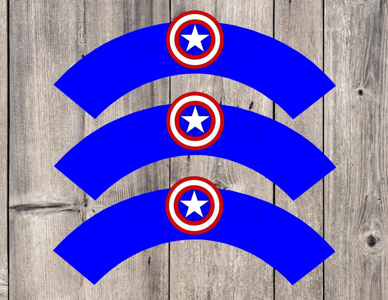 Captain America Avengers Superhero Cupcake Wrappers Printable Digital Instant Download