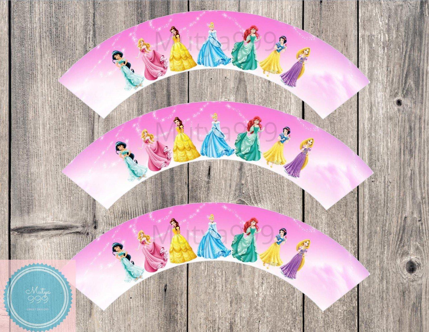 Disney Princesses Cupcake Wrappers Printable Digital Instant Download Princess