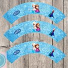 Frozen Disney Elsa Anna Cupcake Wrappers Printable Digital Instant Download