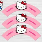 Hello Kitty Cupcake Wrappers Printable Digital Instant Download Pink
