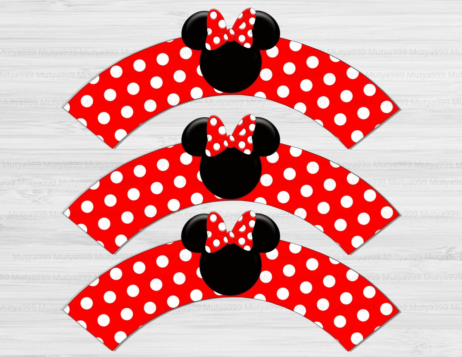 Minnie Mouse Disney Cupcake Wrappers Printable Digital Instant Download