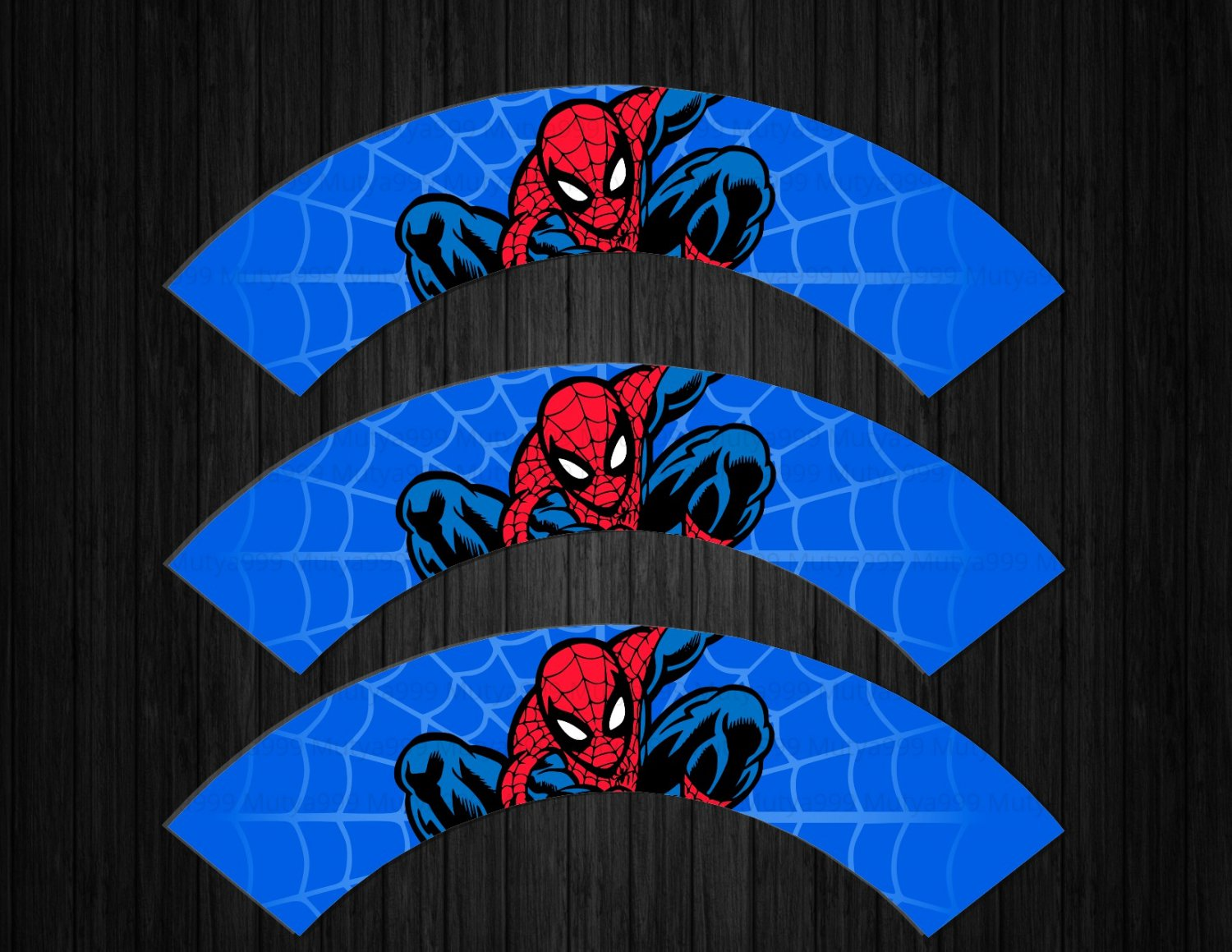 Spiderman Avengers BLUE Cupcake Wrappers Printable Digital Instant Download
