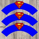 Superman Superhero Cupcake Wrappers Printable Digital Instant Download