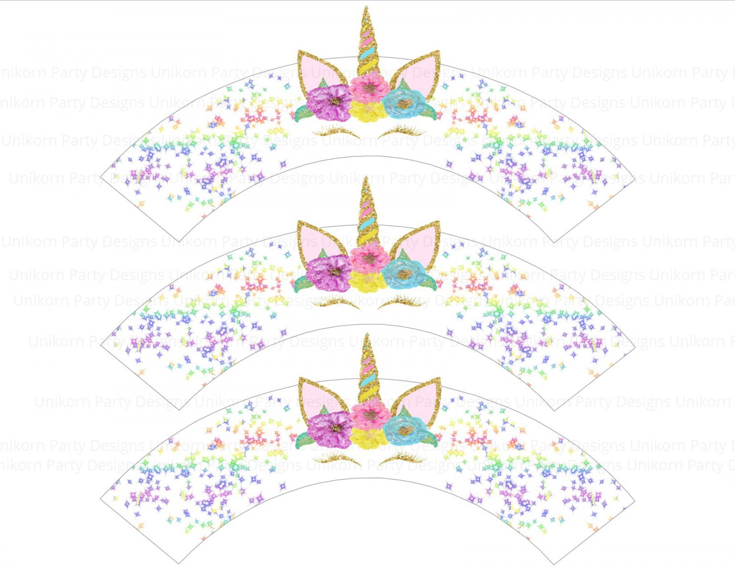 Unicorn Design 4 Horn Head Cupcake Wrappers Printable Digital Instant Download