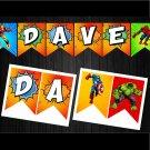 Personalized Superhero Avengers Comic Banners Printable Digital Custom Banner Bunting Garland