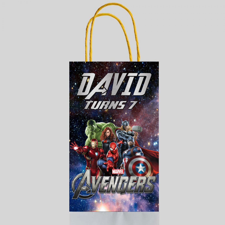 Personalized Avengers Superhero Favor Loot Paper Bag Template Printable Digital Custom Customized