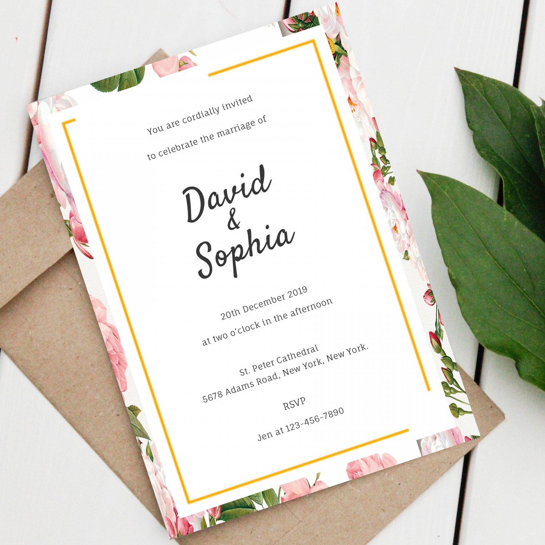 Wedding Design 1 Invitation Pink Flowers Printable Digital Personalized Elegant