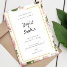 Wedding Design 1 Invitation Pink Flowers Printable Digital Personalized Elegant