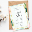 Wedding Design 2 Blue Flowers Invitation Digital Printable Personalized Elegant Royal