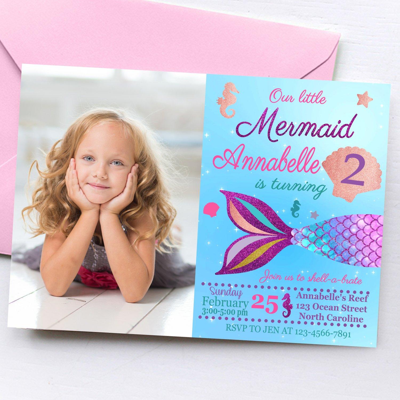 Printable Mermaid Princess Invitation Design 1 with Photo Digital Printable