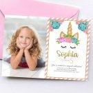 Unicorn Invitation Design 3 with Photo Personalized Printable Digital birthday princess