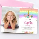 Unicorn Invitation Design 4 with Photo Personalized Digital Printable birthday princess